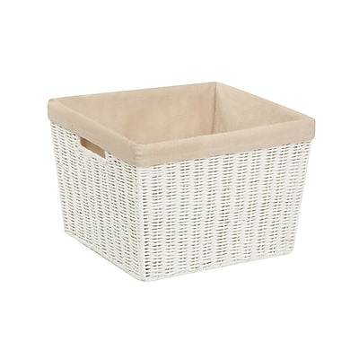 Honey Can Do Paper Rope Storage Tote with Liner, White (STO-03561)