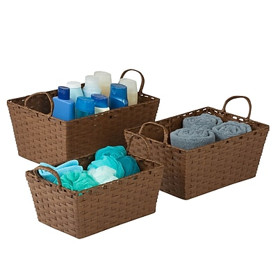 Honey Can Do 3-Piece Small Stacking Baskets, Brown (STO-03728)