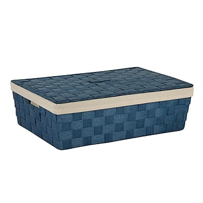 Honey Can Do Underbed Paper Rope Basket with Liner, Blue (STO-03736)