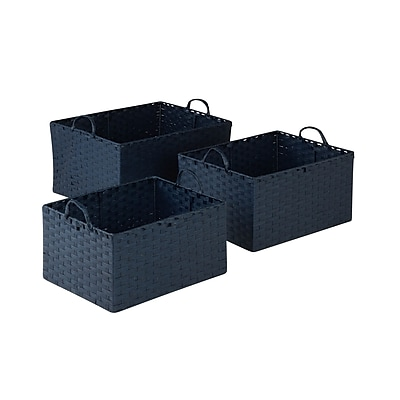 Honey Can Do Paper Rope Baskets with Handles Set of 3, Blue (STO-03739)