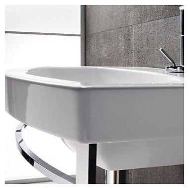 GSI Collection Losagna Ceramic 24'' Wall Mount Bathroom Sink w/ Overflow; Single Hole