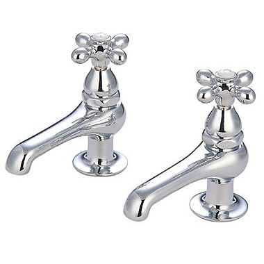 Elements of Design Widespread Bathroom Faucet w/ Metal Cross Handle; Polished Chrome