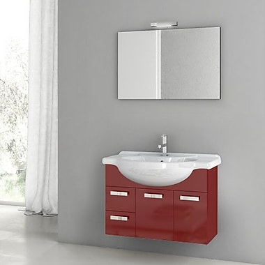ACF Phinex 31.5'' Single Bathroom Vanity Set w/ Mirror; Glossy Red