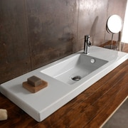 Ceramica Tecla Serie 35 Ceramic Rectangular Drop-In Bathroom Sink w/ Overflow; 1 Hole