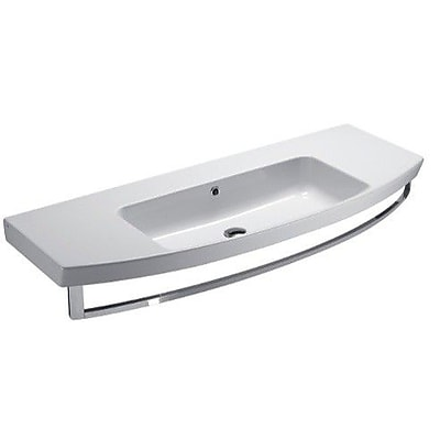 GSI Collection Modo Ceramic Rectangular Drop-In Bathroom Sink w/ Overflow; 8'' Centers