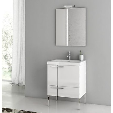 ACF New Space 23.4'' Single Bathroom Vanity Set w/ Mirror; Larch Canapa