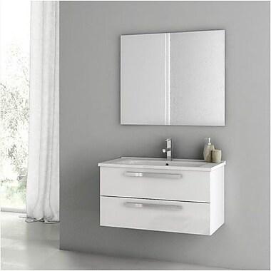 ACF Dadila 32.7'' Single Bathroom Vanity Set w/ Mirror; Glossy White