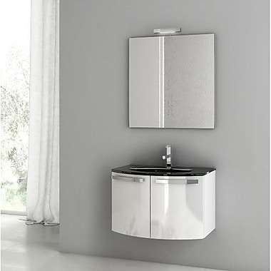 ACF Crystal Dance 27.6'' Single Bathroom Vanity Set w/ Mirror; Glossy White