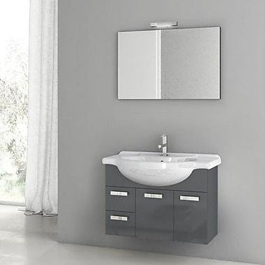 ACF Phinex 31.5'' Single Bathroom Vanity Set w/ Mirror; Glossy Anthracite