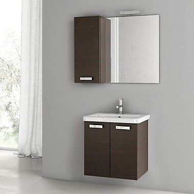 ACF City Play 22'' Single Bathroom Vanity Set w/ Mirror; Wenge