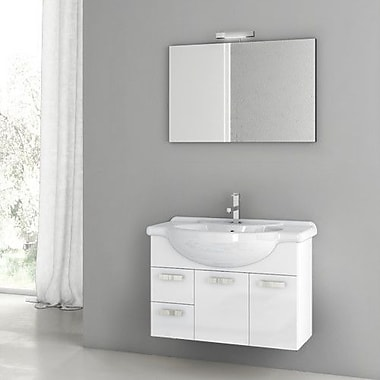 ACF Phinex 31.5'' Single Bathroom Vanity Set w/ Mirror; Glossy White