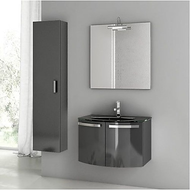 ACF Crystal Dance 27.6'' Single Bathroom Vanity Set w/ Mirror; Glossy Anthracite