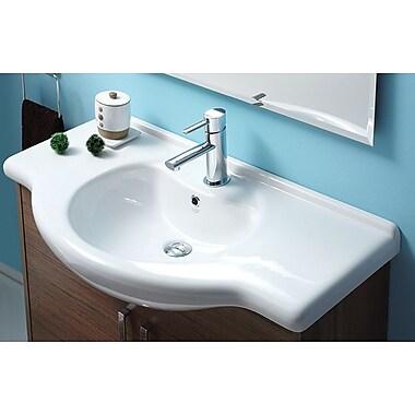 CeraStyle by Nameeks Nil Ceramic 34'' Wall Mount Bathroom Sink w/ Overflow