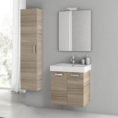 ACF Cubical 21.9'' Single Bathroom Vanity Set w/ Mirror; Larch Canapa