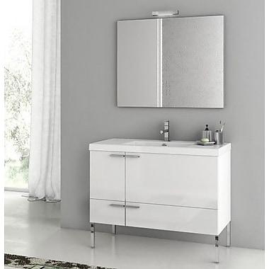 ACF New Space 39.2'' Single Single Bathroom Vanity Set w/ Mirror; Glossy White