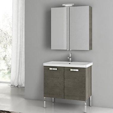ACF City Play 29.9'' Single Bathroom Vanity Set w/ Mirror; Glossy White