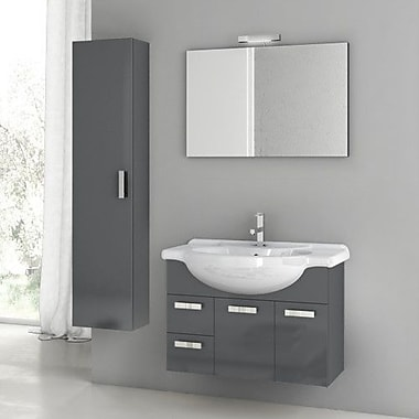 ACF Cubical 31.5'' Single Bathroom Vanity Set w/ Mirror; Glossy Anthracite