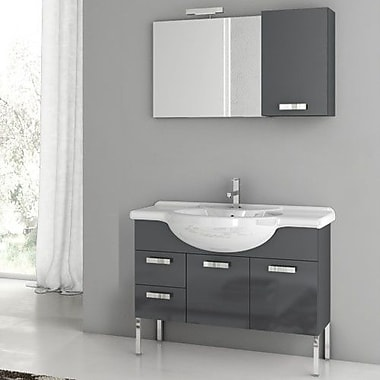 ACF Phinex 39.4'' Single Bathroom Vanity Set w/ Mirror; Glossy Anthracite