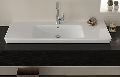 CeraStyle by Nameeks Porto Ceramic Rectangular Drop-In Bathroom Sink w/ Overflow