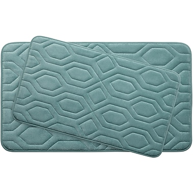 Bath Studio Turtle Shell Large 2 Piece Premium Micro Plush Memory Foam Bath Mat Set; Marine Blue