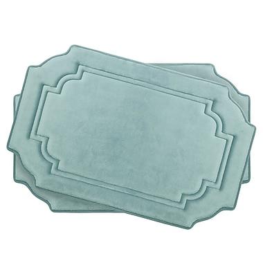 Bath Studio Calypso Small Premium Micro Plush Memory Foam Bath Mat Set (Set of 2); Aqua