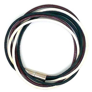 Best Desu Multi Strands Leather Bracelet, Black/white/burgundy