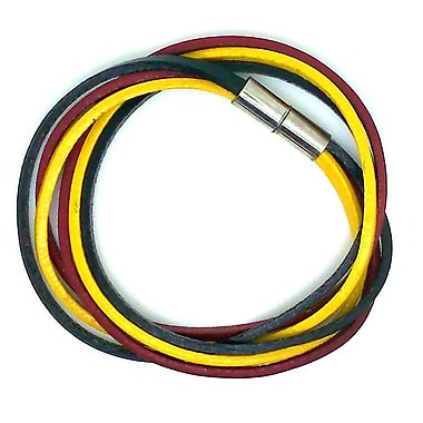 Best Desu Multi Strands Leather Bracelet, Black/red/yellow