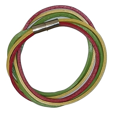 Best Desu Multi Strands Leather Bracelet, Red/yellow/green