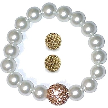 Best Desu Swarovski Elements Crystal Pearl Bracelet With Balla Earrings, Champagne