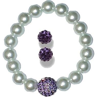 Best Desu Swarovski Elements Crystal Pearl Bracelet With Balla Earrings, Purple