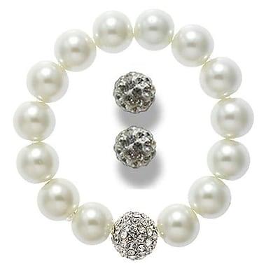 Best Desu Swarovski Elements Crystal Pearl Bracelet With Balla Earrings, White