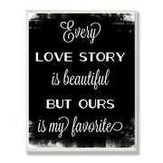 Stupell Industries Every Love Story Chalkboard look Typography Wall Plaque
