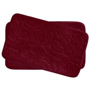 Bath Studio Stencil Floral Small 2 Piece Plush Memory Foam Bath Mat Set; Barn Red