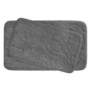 Bath Studio Stencil Floral Large 2 Piece Plush Memory Foam Bath Mat Set; Dark Grey