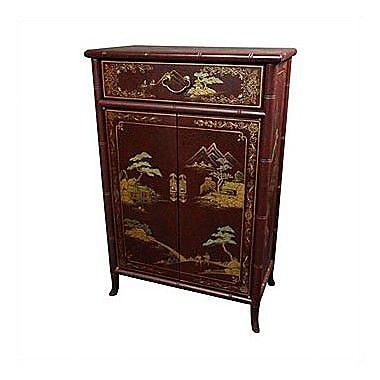 Oriental Furniture Japanese Shoe Storage Cabinet; Red