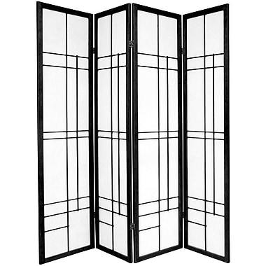 Oriental Furniture 70.25'' x 56'' Eudes Shoji 4 Panel Room Divider; Black