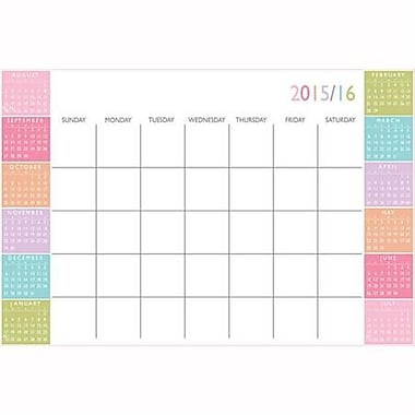 Wall Pops Dry Erase Academic Calendar, Aug-July, Colour Block