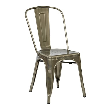OSP Designs Metal Dining Chair with Backrest, Gunmetal