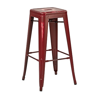OSP Designs – Tabouret de bar en métal de 30 po, fini rouge antique