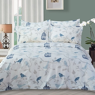 Highland Feather – Ensemble de housse de couette Bird, grand lit