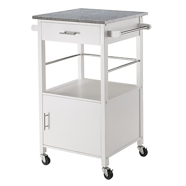 Winsome Davenport Kitchen Cart with Granite Top, White