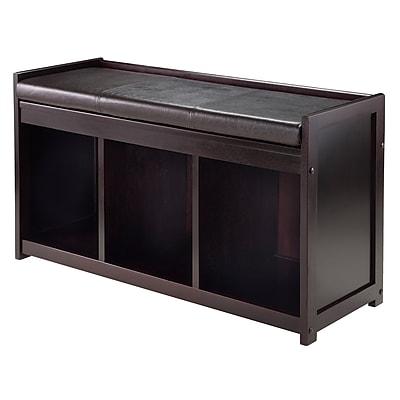 Winsome Addison Storage Bench with Cushion Seat, Espresso (92349)