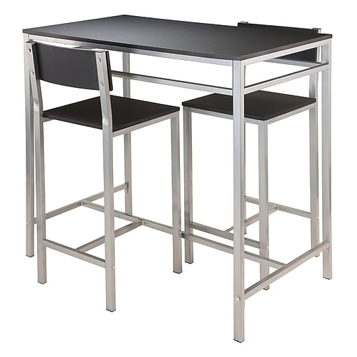 """Winsome Hanley Table with Two 26"""" High Back Stools, Black (93336)"""