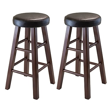 Winsome Marta Set of 2 Round Counter Stool, PU Leather Cushion Seat, Square Legs, Assembled