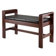 Winsome Thomas Bench with Cushion Seat and Armrests, Walnut (94242)