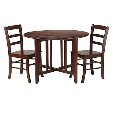 Winsome – Ensemble 3 pièces de la collection Alamo avec table ronde à abattant et 2 chaises à dossier en barreaux d'échelle