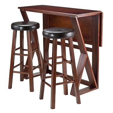 Winsome – Ensemble 3 pièces de la collection Harrington avec table haute à abattant et 2 tabourets rembourrés ronds de 30 po