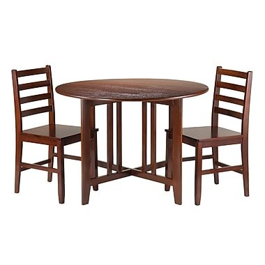 Winsome Alamo 3-Piece Round Drop Leaf Table with 2 Hamilton Ladder Back Chairs