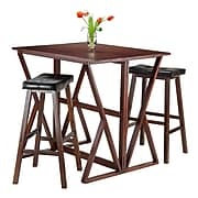 """Winsome Harrington Drop Leaf Table with Two 29"""" Cushion Seat Stools, Walnut (94361)"""