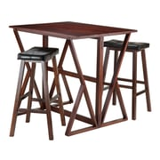"Winsome Harrington Drop Leaf Table with Two 29"" Cushion Seat Stools, Walnut (94361)"